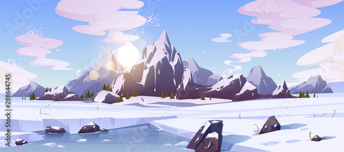 Keuken foto achterwand Blauwe hemel Cold winter in Canada, wild northern nature rocky landscape cartoon vector background with morning sun rising over mountains snowy peaks, field of snow, frozen, ice-bound river or lake illustration