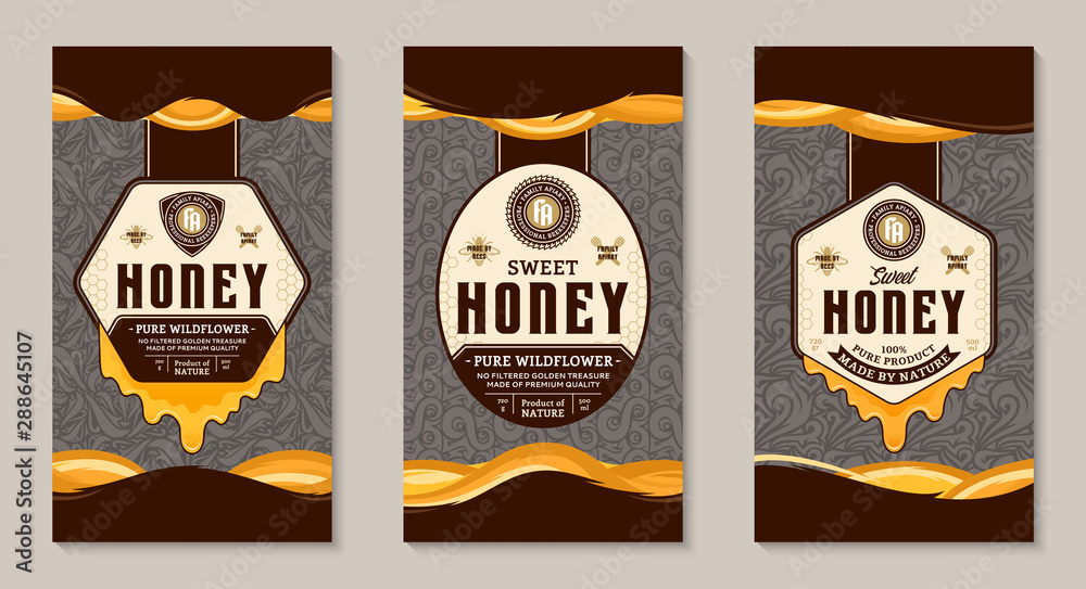 Fototapety, obrazy: Honey labels and packaging design templates