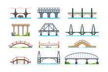 Bridges. Wooden Iron Aqueduc With Column Modern Architectural Objects Vector Bridge In Flat Style. Illustration Architecture Bridge, Landmark Structure Building