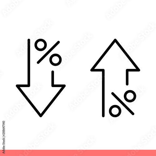 Fototapeta Decrease and increase icon set in flat isolated on white background, percent down and up vector illustration for web site or mobile app obraz