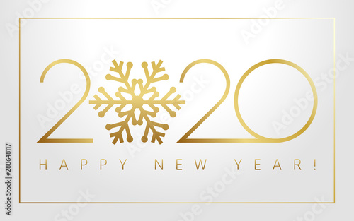 Merry Christmas Images In Gold And Silver 2020 2020 Xmas numbers, golden snowflake and Happy New Year text on