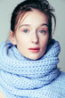 canvas print picture - beauty young blond woman in scarf with weathered lips close up isolated, dehydrated winter skin cosmetic concept