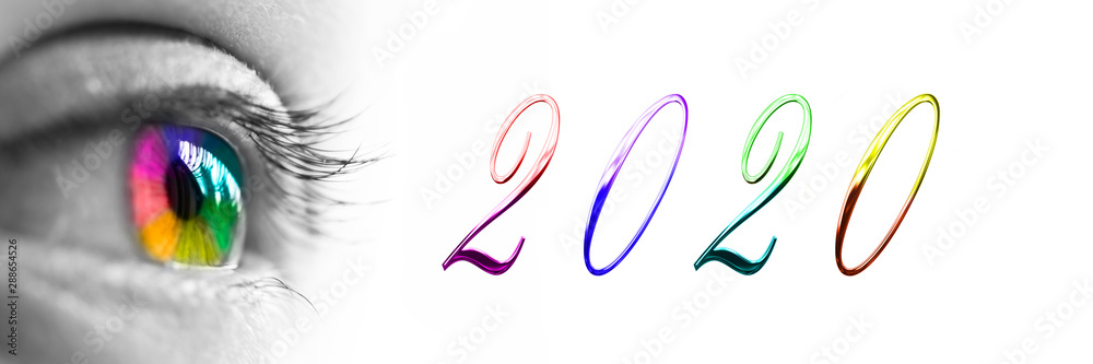 Fototapeta 2020 and colorful rainbow eye headeron panoramic white background, 2020 new year greetings concept