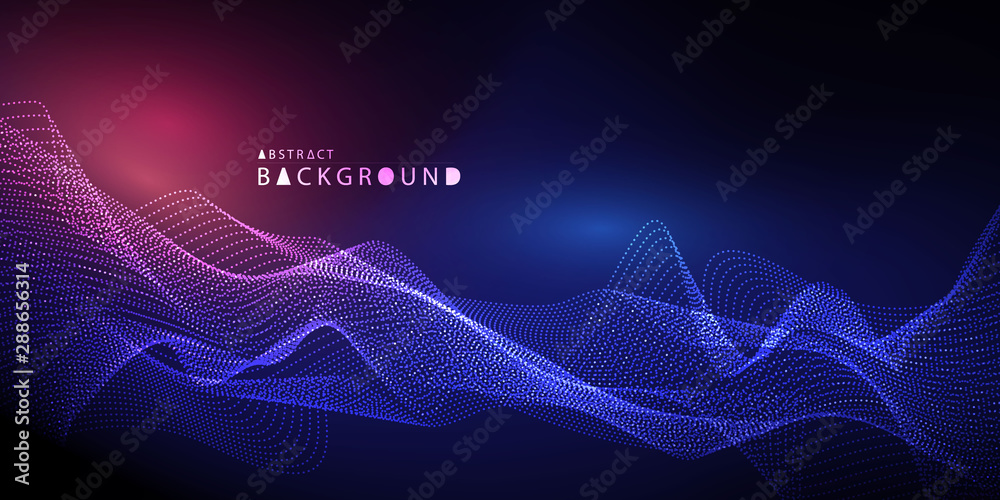Abstract technology background. Particle Mist network Cyber security Vector illustration.