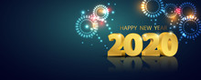 Happy New Year 2020 Background. Greeting Card Design Fireworks Template Gold. Celebrate Brochure Or Flyer.