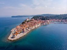 Piran, Slovenia (Drone Shot). Beautiful Town