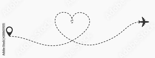 Cuadros en Lienzo Love travel route icon in transparent style