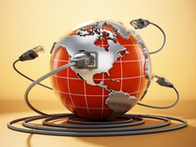 Rj45 Plug Connected To Blue Globe With World Map. 3D Illustration