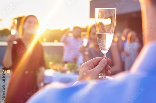 Mature businessman toasting wineglass with colleagues during success party on ro Canvas