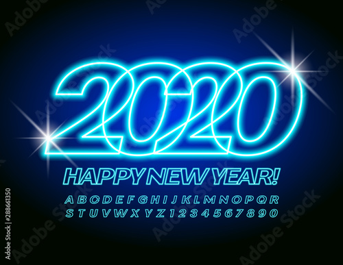 Vector stylish Greeting Card Happy New Year 2020. Bright Neon Alphabet. Blue Uppercase Font. Glowing electric Letters and Numbers