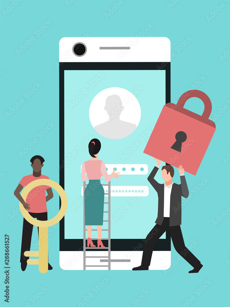 Fototapeta Mobile data protection. Phone security, privacy access with password vector illustration. Woman and men are protecting phone privacy