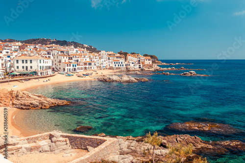 Foto auf Leinwand Barcelona Sea landscape with Calella de Palafrugell, Catalonia, Spain near of Barcelona. Scenic fisherman village with nice sand beach and clear blue water in nice bay. Famous tourist destination in Costa Brava