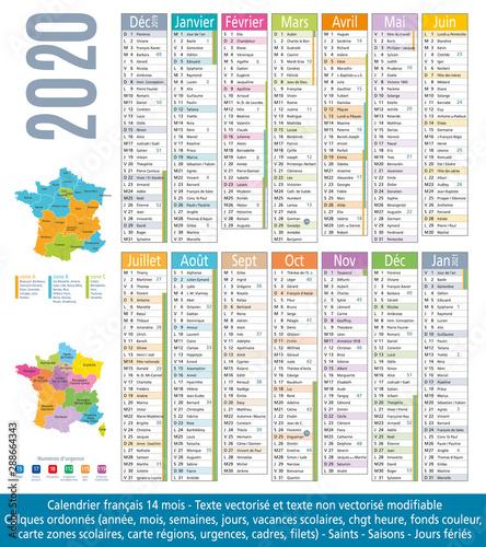 2020-Calendrier 14 mois-Carte régions et académies-2 Fototapeta