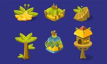 Tropical Jungle Landscape Elements Set, User Interface Assets For Mobile App Or Video Game Vector Illustration