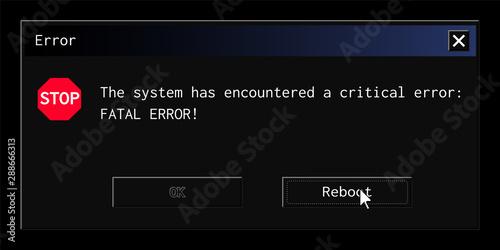 Fotografering Vintage system error message popup in contemporary night mode dark theme