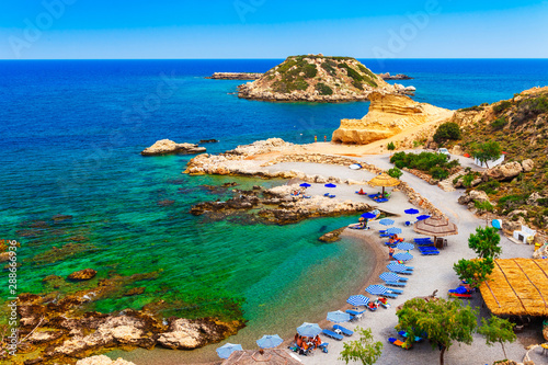 Foto auf AluDibond Südeuropa Sea skyview landscape photo of picturesque beach near Stegna and Archangelos on Rhodes island, Dodecanese, Greece. Panorama with sand and clear blue water. Famous tourist destination in South Europe