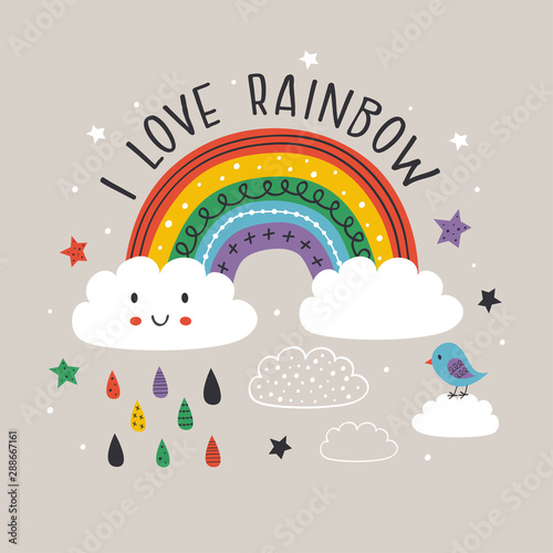gray poster with colorful rainbow,cloud and bird - vector illustration, eps Wallpaper Mural