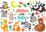 set of isolated animals mother with baby part 2 - vector illustration, eps