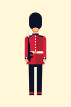 London Queens Guard Vector Flat Illustration Of A British Soldier In Uniform With A Gun. Guid Icon Isolated On Light Background.