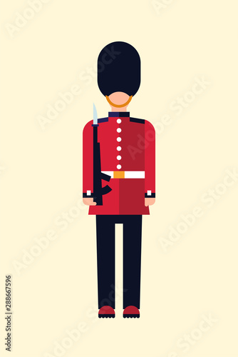 London Queens guard Vector flat illustration of a British soldier in uniform with a gun Canvas Print