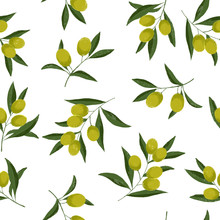 Seamless Pattern With Ripe Green Olives On White Background. Design For Olive Oil, Natural Cosmetics. Best For Wrapping Paper.