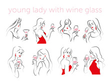 Vector Set Of Hand Drawn Young Beautiful Lady Portraits Holding Wine Glass Isolated On White Background. Hand Drawn Sketch Minimal Style. Concept For Ladies Night Party, Bar, Happy Cocktail Hour.