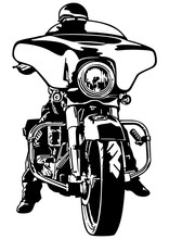 Biker Front View - Black And White Outline Illustration With Rider On Motorcycle, Vector