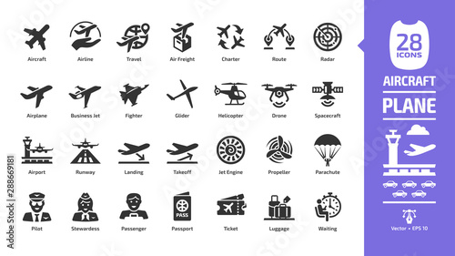Aircraft icon set with flight plane glyph symbols: airplane, business jet, airport, fly aeroplane, commercial aviation, travel air, military fighter, airline, cargo aero transport landing and takeoff Canvas Print