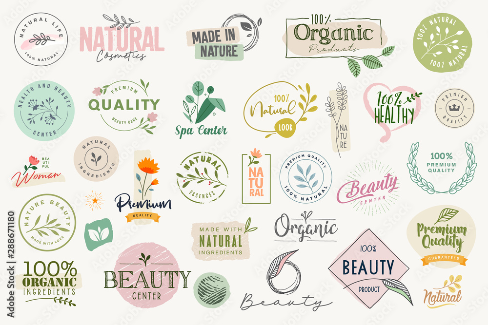 Fototapeta Set of signs and elements for beauty, natural and organic products, cosmetics, spa and wellness. Vector illustrations for graphic and web design, marketing material, product promotions, packaging desi