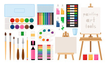 Painter Art Tools. Paint Arts Tool Kit Vector Illustration, Vector Watercolor Painting Design Artists Supplies, Easel And Palette, Painting Brush And Draw Materials