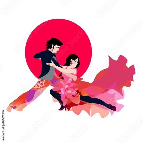 Fototapeta Tango dancers in bright costumes against red sun. Young couple dancing  Salsa, Samba. obraz na płótnie