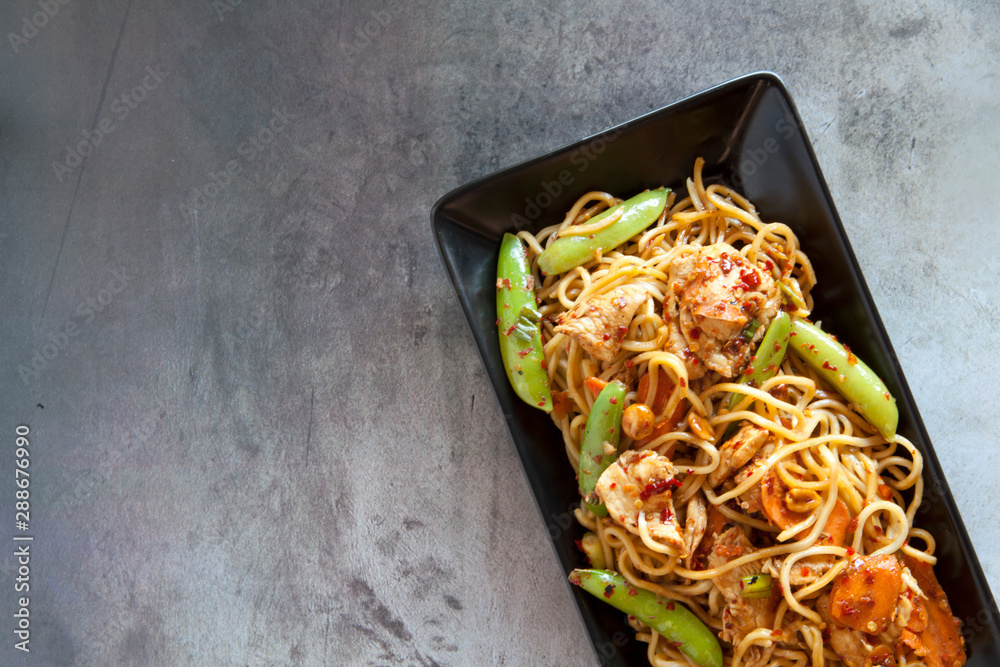 Fototapety, obrazy: Spicy Chicken Noodles with Vegetables
