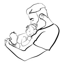 Man With A Child. Logo Of The Young Father With The Baby In His Hands. A Black White Illustration Of A Father Hugging His Baby. Logo Family. Tattoo.