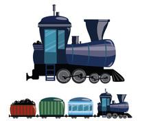 Cartoon Train. Vector Illustration Of A Railway Transport. Figure Train For Children.
