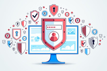 Shield Over Computer Monitor And Set Of Icons, Private Data Security Concept, Antivirus Or Firewall, Finance Protection, Vector Flat Thin Line Design, Elements Can Be Used Separately.