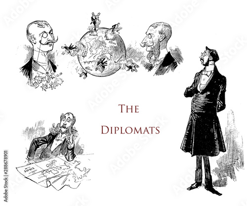Humor and caricatures; the diplomats, mannerism, self-importance and affectation Canvas Print