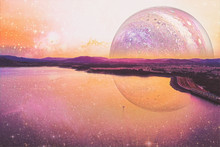 Lonely Boat Sailing Across A Lake On Alien Planet - Digital Artwork. Elements Of This Image Furnished By NASA
