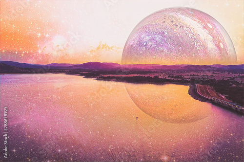 Lonely boat sailing across a lake on alien planet - digital artwork Wallpaper Mural