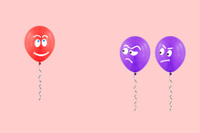 Balloons Creative Concept. Angry Envy Friends, Allocation From Crowd.