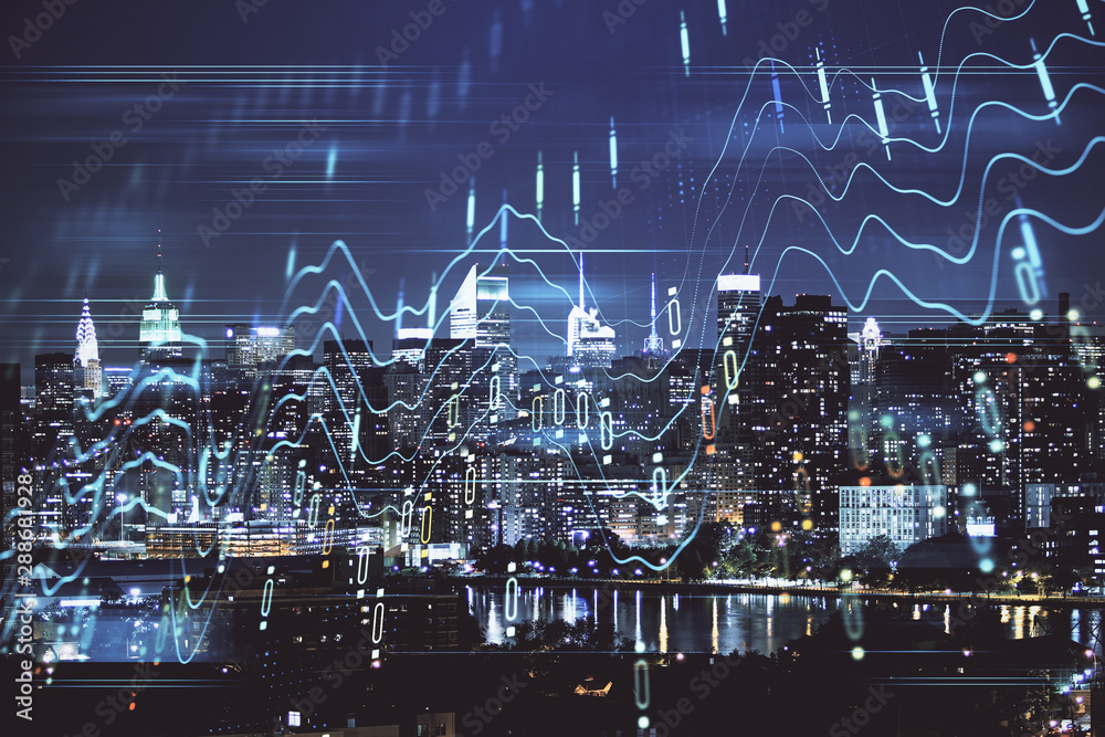 Fototapety, obrazy: Double exposure of forex chart drawings over cityscape background. Concept of success.