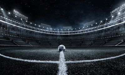 Sport Backgrounds. Soccer stadium. 3D render stadium.