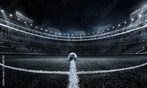 Sport Backgrounds.  Soccer stadium. 3D render stadium. Wallpaper Mural