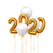 Happy New Year 2020. Background Realistic Golden Balloons. Decorative Design Elements. Object Render 3d Ballon With Ribbon. Celebrate Party Poster, Banner, Greeting Card. Festive Vector Illustration.