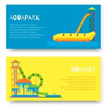 Aquapark Attraction Slide Or Waterpark With Different Water Slides, Hills Tubes And Pools Vector Illustration. Blue And Yellow Aqua Park Horizontal Banners.