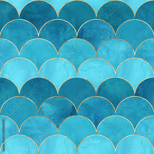 Recess Fitting Pattern Mermaid fish scale wave japanese seamless pattern