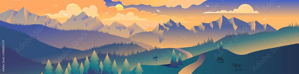 Fototapety, obrazy: Mountains panoramic view minimalist illustration