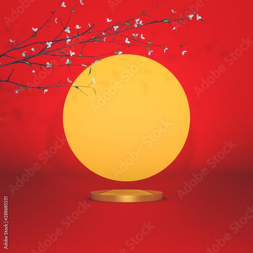 Montage in der Fensternische Rot kubanischen Abstract cylinder box with full moon background. Mid autumn festival background. 3d render.