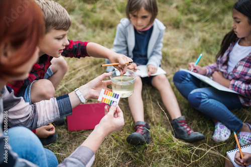Fotografía  Group of school children with teacher on field trip in nature, learning science