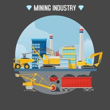Mining Industry Vector Illustration. Excavator Loaders, Hydraulic Pile Drilling Machines, Tractors At Mining Industry Construction Site.