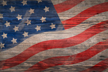 American Flag Painted Old Wood Texture, There Are Traces And Stains, Feel About History.